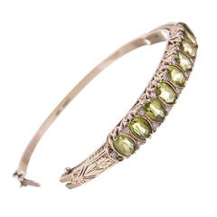 "Victorian ""English Carved"" Peridot Diamond Gold Bangle Bracelet"