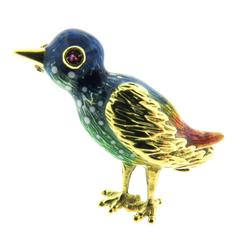 Enamel Gold Bird Pin