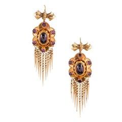 Victorian Bearded Garnet Gold Earrings