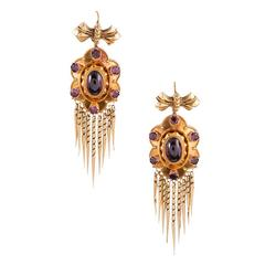 Victorian Bearded Garnet Gold Earrings
