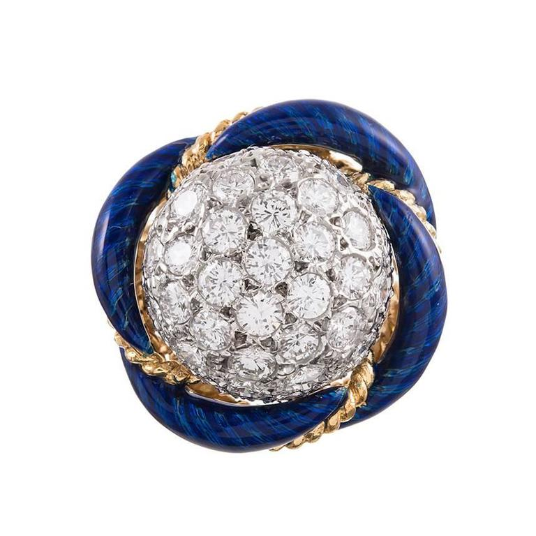 1960s Blue Enamel Diamond Gold Dome Ring