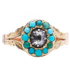 Hand Engraved Georgian Turquoise Diamond Gold Ring