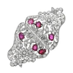 Edwardian Carved Ruby Diamond Platinum Double Clips