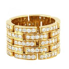 Cartier 5 Row Diamond Gold Maillon Panthere Ring