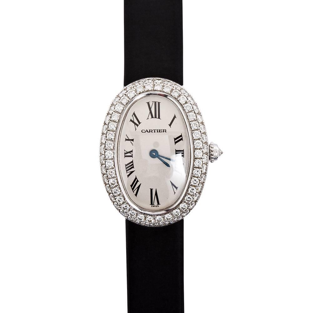 cartier baignoire ladies white gold satin band wristwatch. Black Bedroom Furniture Sets. Home Design Ideas