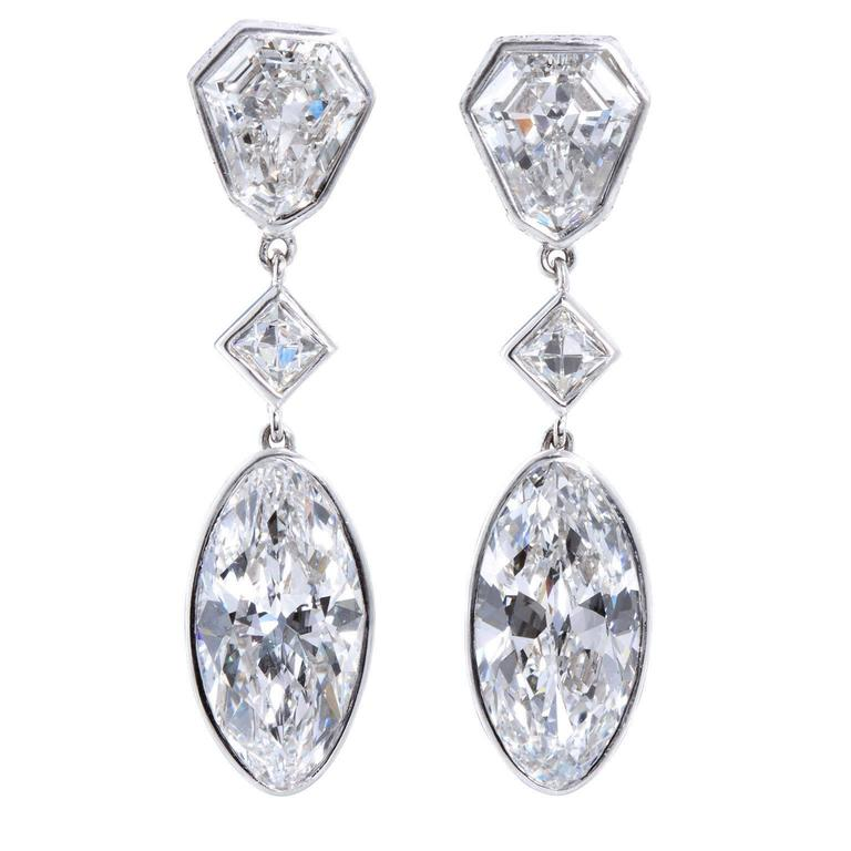 Important Moval Shaped D Internally Flawless Diamond Dangle Chandelier Earrings