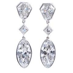 Important Moval Shaped D Internally Flawless Diamond Dangle Chandelier Earrings