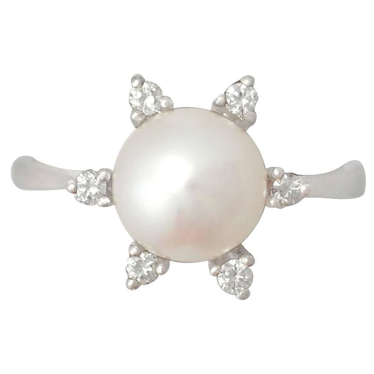 1970s Cultured Pearl and Diamond White Gold Cocktail Ring