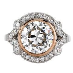 3.05 Carat Old European Cut Diamond Gold Platinum Ring