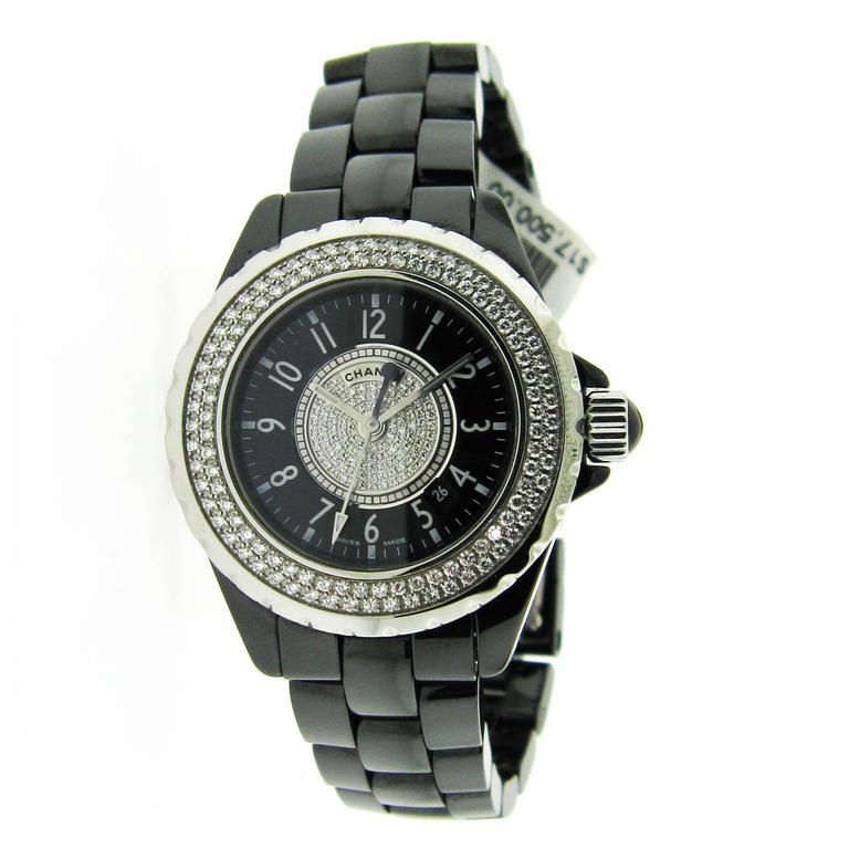 Chanel Black Ceramic Stainless Steel Bezel Quartz Wristwatch