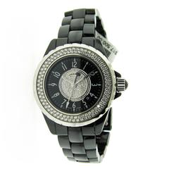 Chanel Black Ceramic Stainless Steel Bezel Quartz Wristwatch