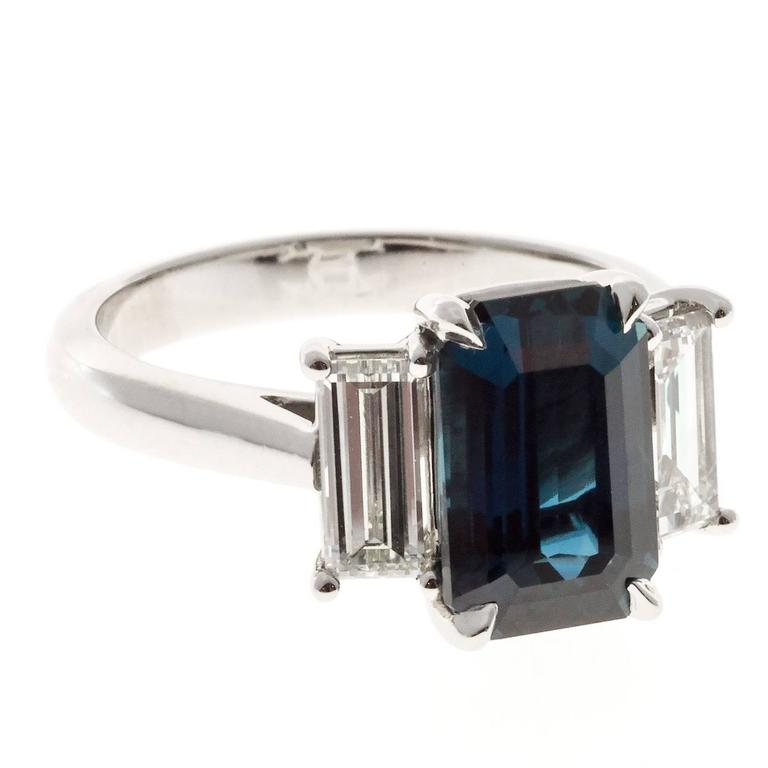 Peter Suchy Elongated Sapphire Diamond Platinum Three Stone Engagement Ring