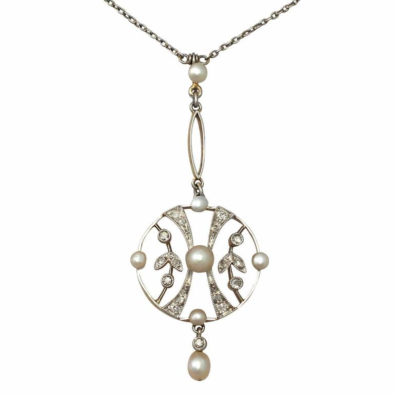 Seed Pearl and 0.24 ct Diamond, 14k Yellow Gold Pendant 1