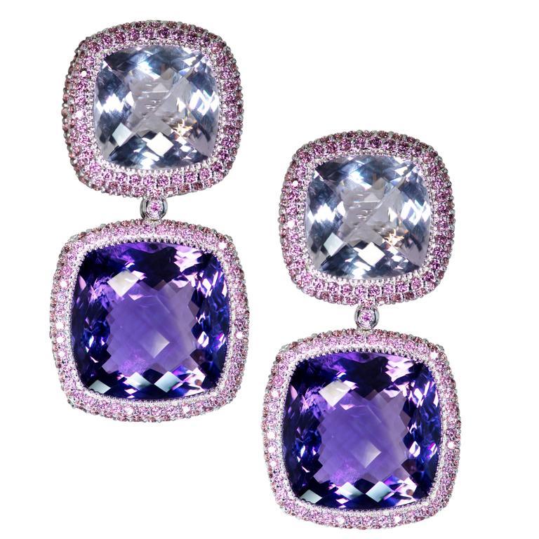 Alex Solr Rose De France Amethyst Rhodolite Garnet White Gold Drop Earrings For
