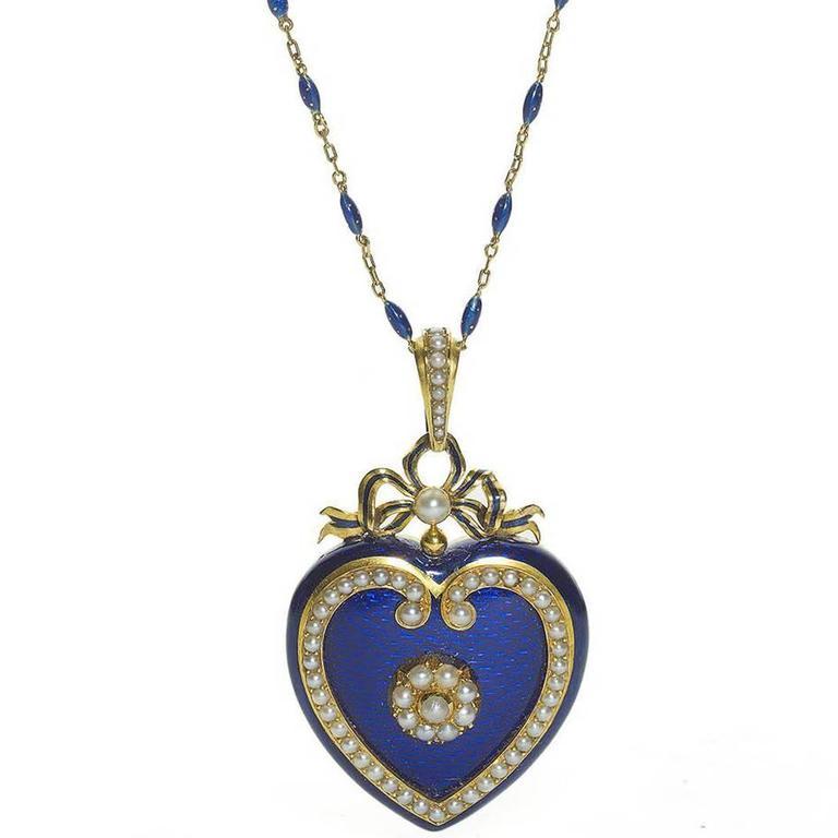 Blue Enamel Pearl Gold Heart Locket