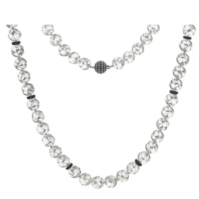 Carved Rock Crystal Black Onyx Diamond Gold Necklace