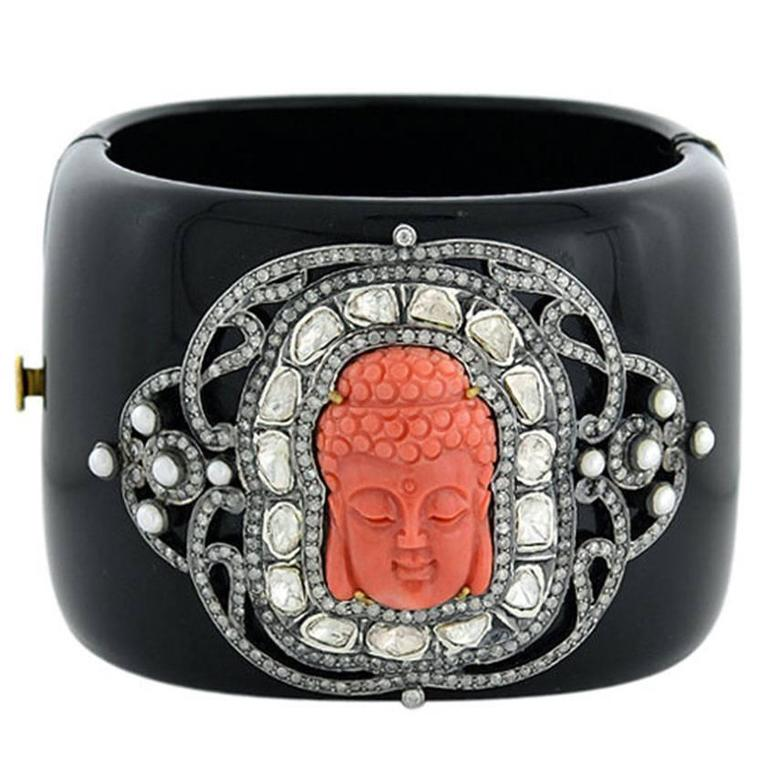 Coral Buddha Pearl Diamond Bakelite Bangle Bracelet