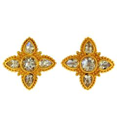 Paula Crevoshay Elegant and Classic Moonstone Gold Earrings