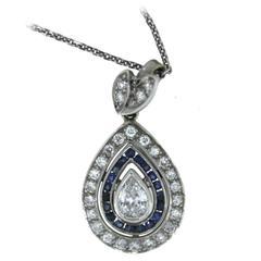 Blue Sapphire Diamond Gold Pear Shape Drop Pendant Necklace