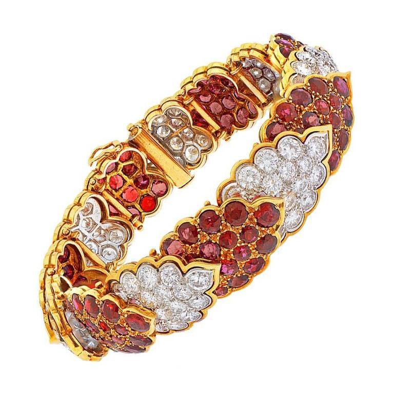 Elegant French 1970s Ruby Diamond Gold Bracelet