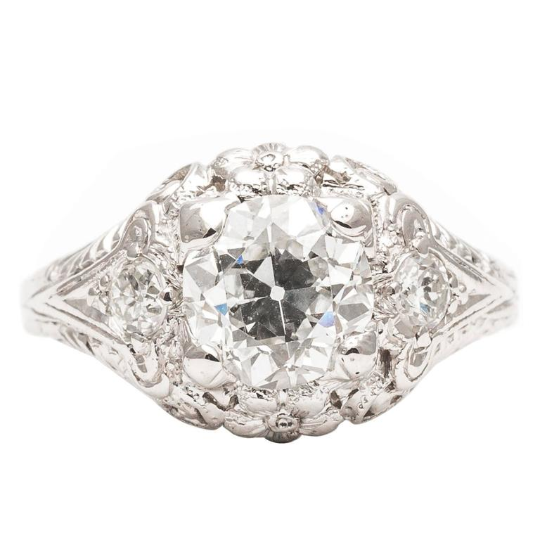 Art deco carat diamond platinum floral engagement for 26 carat diamond ring