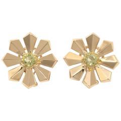Art Deco Lemon Citrine Gold Flower Earrings