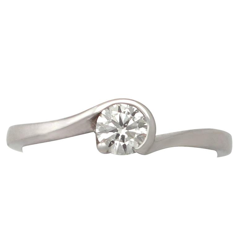 0.37 Carat Diamond and 18k White Gold Solitaire Ring For Sale