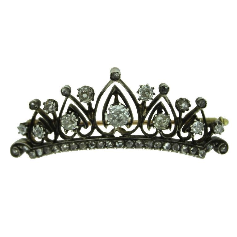 Antique Diamond Gold Tiara Brooch, circa 1890s For Sale