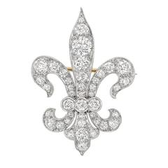 Tiffany & Co. Late Victorian Diamond Gold Platinum Fleur-de-Lis Pendant Brooch
