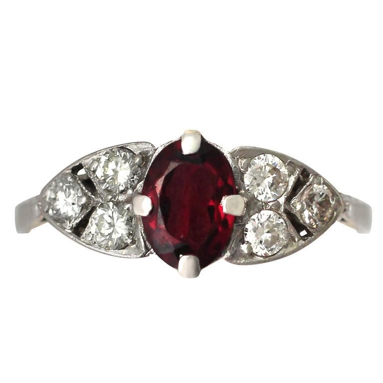 1950s Garnet and Diamond Platinum Cocktail Ring 1