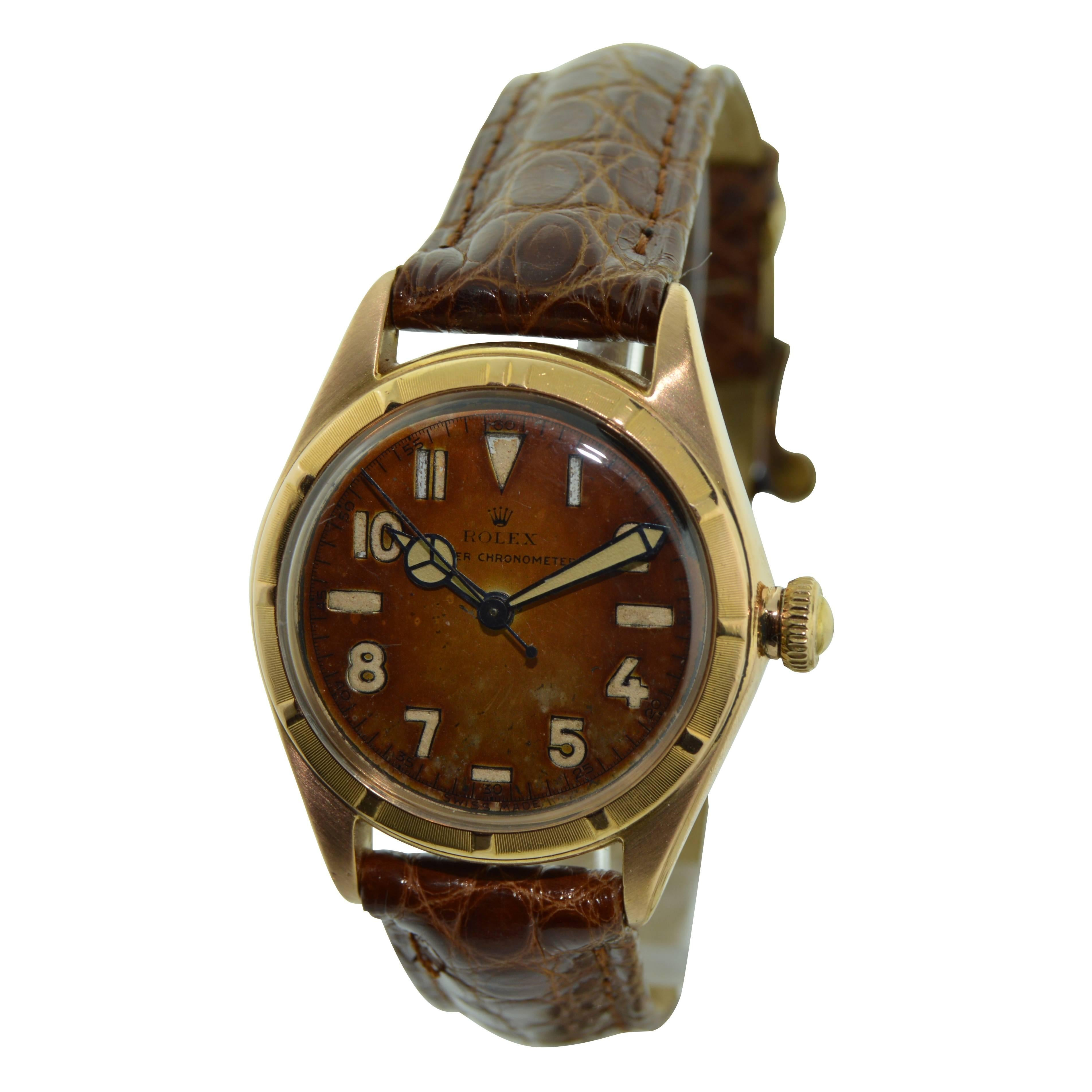Rolex Rose Gold Bubble Back 3/4 Size Watch with Original Patinated Dial