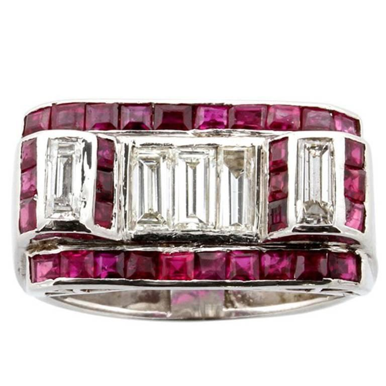 Art Deco Ruby Diamond Platinum Cocktail Ring