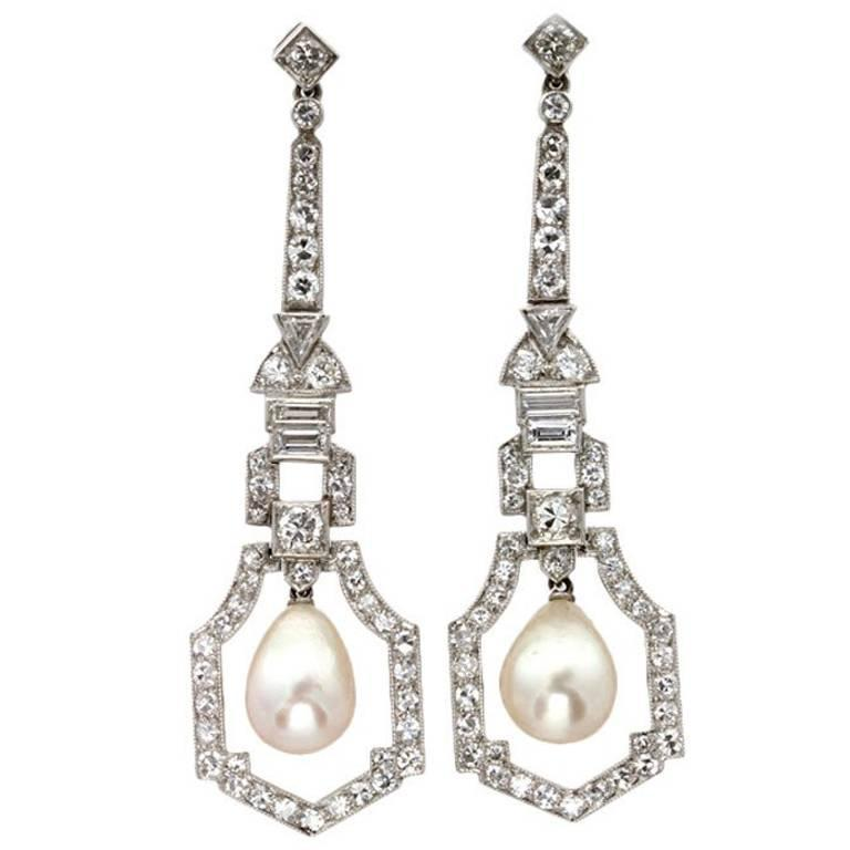Art Deco Natural Pearl Diamond Platinum Drop Earrings