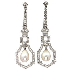 A Pair Of Art Deco Natural Pearl And Diamond Drop Earrings