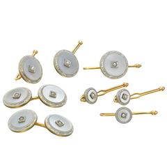 Mother of Pearl Cultured Pearl Diamond Gold Cuff Link and Stud Set