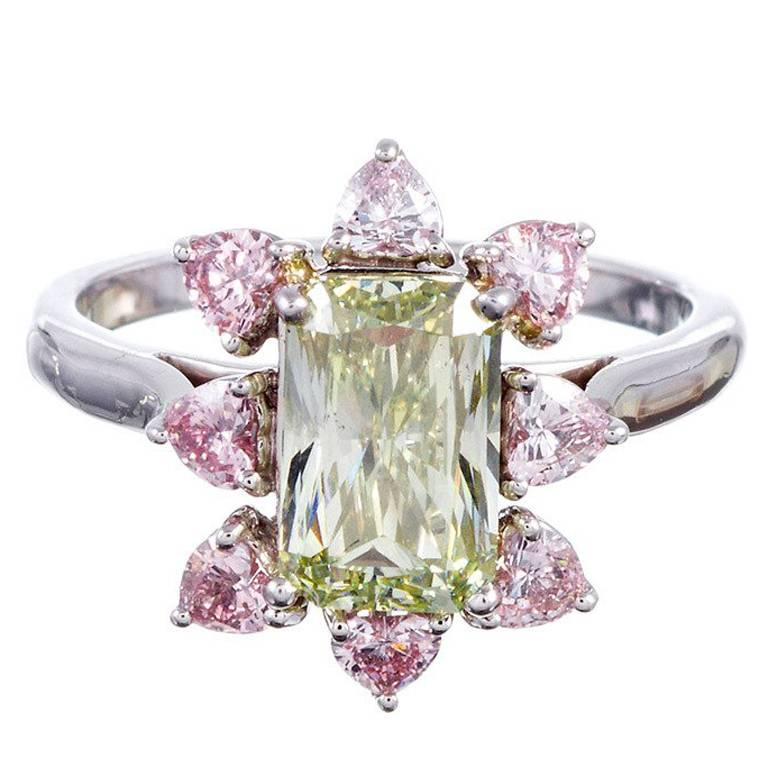 Fancy Colored Green Diamond Cluster Ring 1