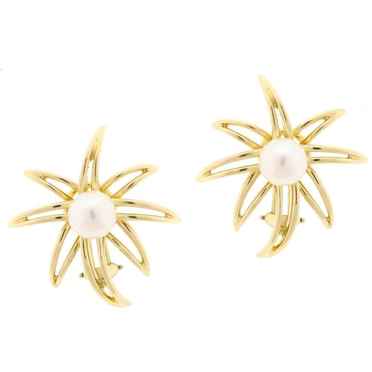 Tiffany & Co. Fireworks Pearl Gold Earrings