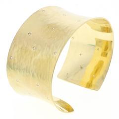 Toby Pomeroy Forged Diamond Gold Cuff Bracelet
