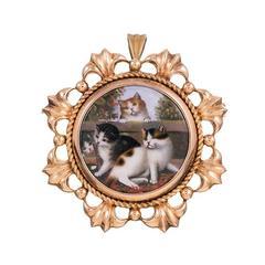 Victorian Miniature Portrait Gold Frame Pin Pendant