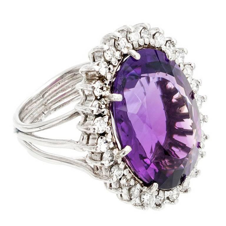 1950s Oval Amethyst Diamond Halo Handmade Wire Platinum Ring