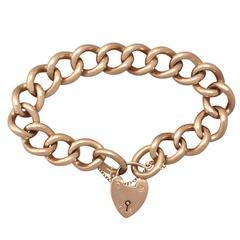 9k Rose Gold Bracelet with Heart Padlock Clasp - Antique Circa 1915