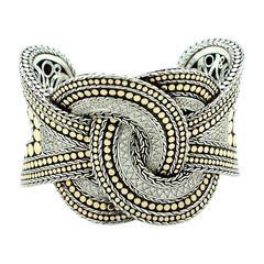 John Hardy Diamond Sterling Silver Gold Woven Dot Cuff Bracelet