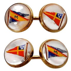 14 Karat Gold and Essex Crystal Nautical Flag Cufflinks