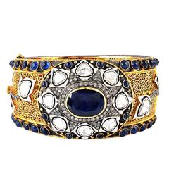 Sapphire Diamond Gold Bangle Bracelet