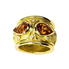 Mandarin Garnet Diamond Gold Band Ring