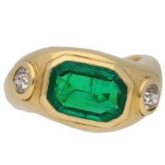 Boucheron Natural Unenhanced Emerald and Diamond ring, French, circa 1940.