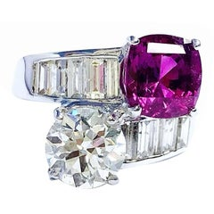 Certified No Heat Purple-Pink Sapphire Diamond Toi Et Moi Ring