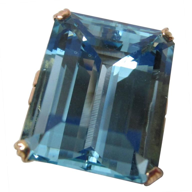 Art Deco 28+ Carat Aquamarine Gold Ring