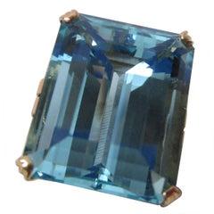 Art Deco 28+ Carat Aquamarine Gold Ring