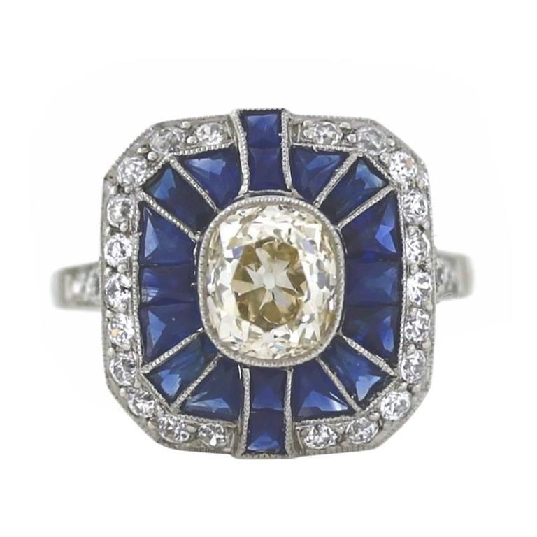 Handmade Sapphire Diamond Platinum Ring